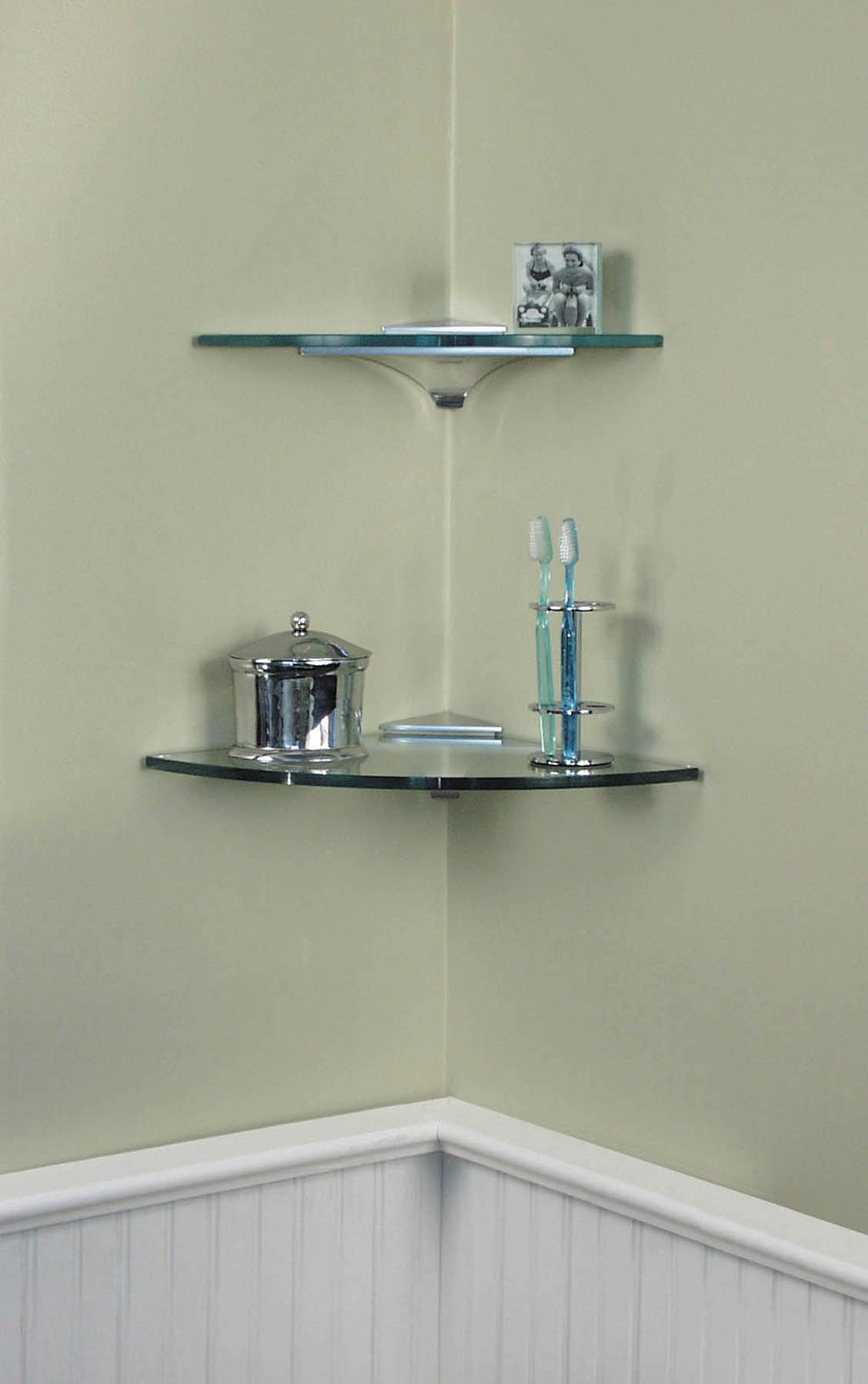 Shelving hardware corner shelf kits corner clip - Bathroom glass corner shelves shower ...